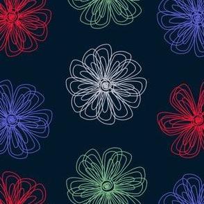 scribble flowers (navy)