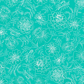 Marigolds_white on turquoise