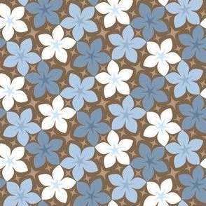 06533933 : S43 floral : faded blues + chocolate