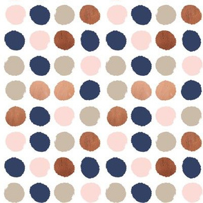 dots rose gold navy blue, taupe and blush pink dot fabric
