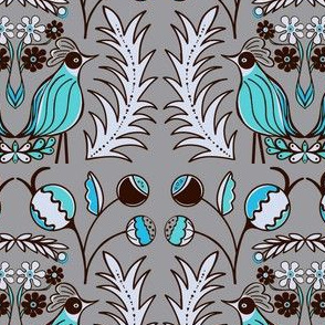 Mod Birds and Blooms blues teals sewindigo