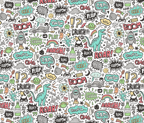 Superheroes  Dinosaurs Space  Galaxy Comic Speech Bubbles Doodle on White fabric by caja_design on Spoonflower - custom fabric
