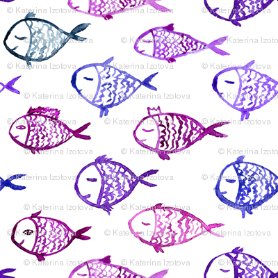 Watercolor purple fish