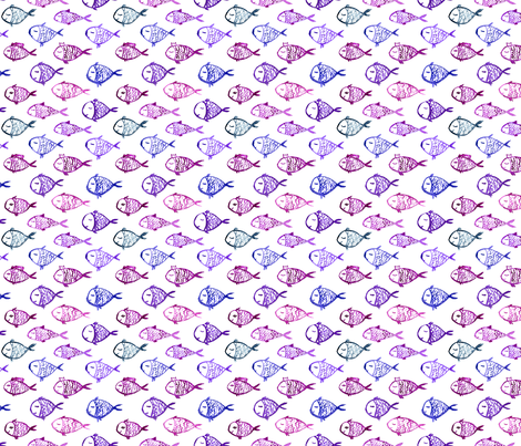 Watercolor purple fish fabric by katerinaizotova on Spoonflower - custom fabric