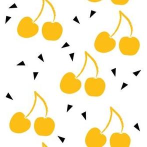 Mustard cherries and triangles