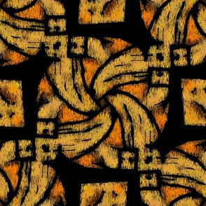 Abstract Woven Knot Orange Yellow and Black