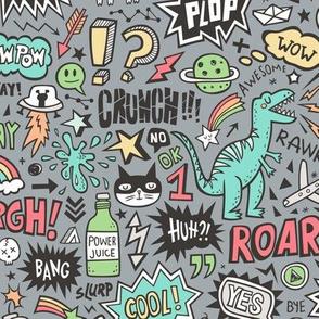 Superheroes Dinosaurs Space  Galaxy Comic Speech Bubbles Doodle on Dark Grey