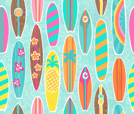 Harrys Surfboards Aqua fabric by bzbdesigner on Spoonflower - custom fabric