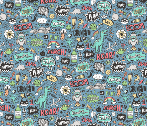 Superheroes  Dinosaurs Space  Galaxy Comic Speech Bubbles Doodle on Dark Blue fabric by caja_design on Spoonflower - custom fabric