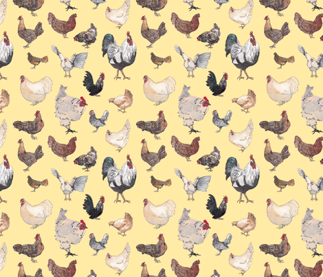 Chicken Happy in Yellow fabric by normajeane on Spoonflower - custom fabric