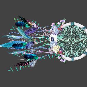 "42""x36"" Teal & Lilac Dream Catcher / Grey"