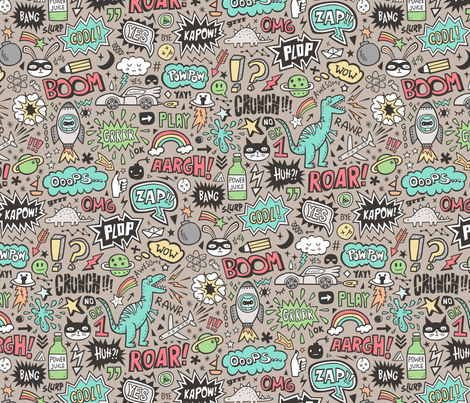 Superheroes  Dinosaurs Space  Galaxy Comic Speech Bubbles Doodle on Almond fabric by caja_design on Spoonflower - custom fabric