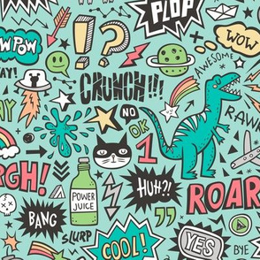 Superheroes  Dinosaurs Space  Galaxy Comic Speech Bubbles Doodle on Mint Green