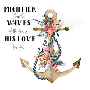 "42""x72"" Mightier Than The Waves Girls Anchor Floral"