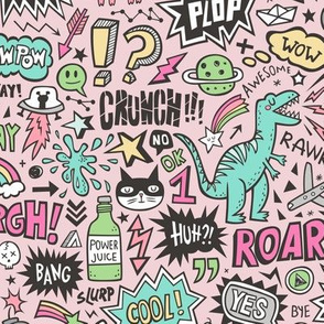 Superheroes  Dinosaurs Space  Galaxy Comic Speech Bubbles Doodle Pink on Pink