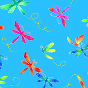 Fights of Fancy - Dragonflies on Turquoise