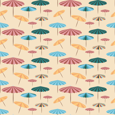 Retro parasol - at the beach fabric by arrpdesign on Spoonflower - custom fabric