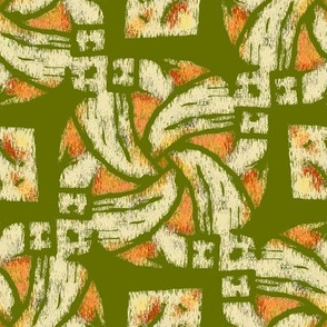 Abstract Woven Knot Peach and Olive