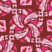 Abstract Woven Knot Pink Hot Pink and Maroon