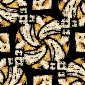 Abstract Woven Knot Cream Yellow and Black