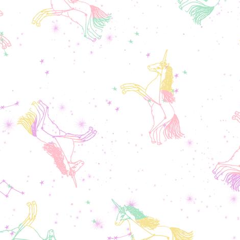 Unicorn Constellations Fabric Galaxy Pastel Unicorn Fabric Trendy