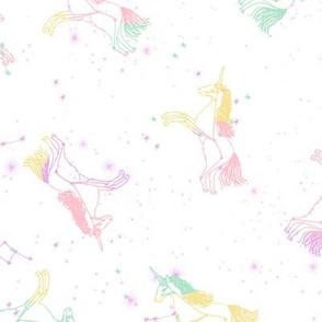 unicorn constellations fabric // galaxy pastel unicorn fabric trendy unicorn design constellation stars unicorns cosmic design pastels