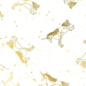 unicorn constellations fabric // galaxy pastel unicorn fabric trendy unicorn design constellation stars unicorns cosmic design gold and white