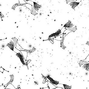 unicorn constellations fabric // galaxy pastel unicorn fabric trendy unicorn design constellation stars unicorns cosmic design bw