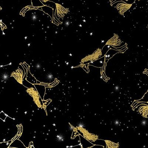 unicorn constellations fabric // galaxy pastel unicorn fabric trendy unicorn design constellation stars unicorns cosmic design black and gold
