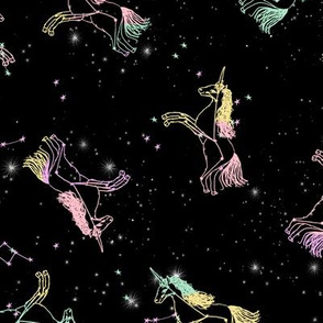 unicorn constellations fabric // galaxy pastel unicorn fabric trendy unicorn design constellation stars unicorns cosmic design pastel