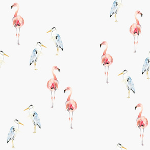 Swanky Birds - Flamingo and Blue Heron
