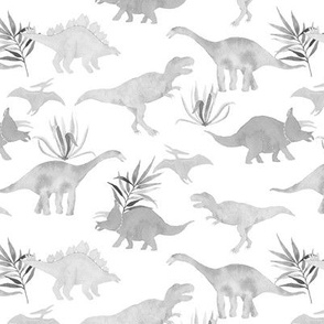Dinos and leaves grey