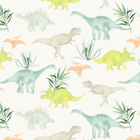 Dinos with leaves tan fabric by mintpeony on Spoonflower - custom fabric