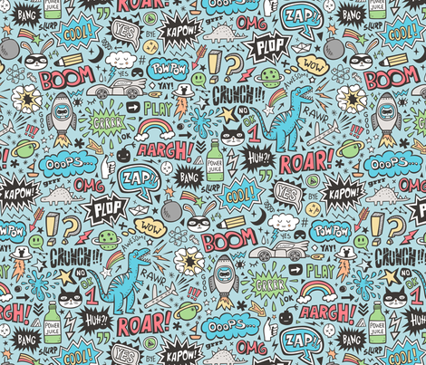 Superheroes  Dinosaurs Space  Galaxy Comic Speech Bubbles Doodle on Blue fabric by caja_design on Spoonflower - custom fabric