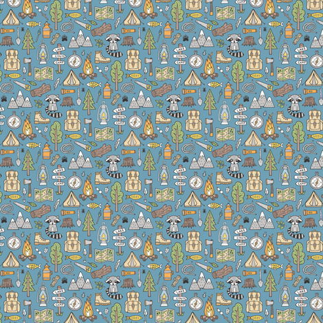 Outdoors Camping Woodland Doodle with Campfire, Raccoon, Mountains, Trees, Logs on Dark Blue Navy Tiny Small fabric by caja_design on Spoonflower - custom fabric