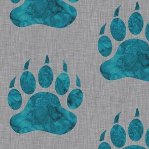 Watercolor Bear Paw - Teal on grey linen