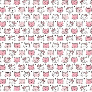Pink Cat Cats  Faces with Bows and Hearts Tiny Small
