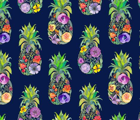 Pretty Pineapples on Navy fabric by gingerlique on Spoonflower - custom fabric