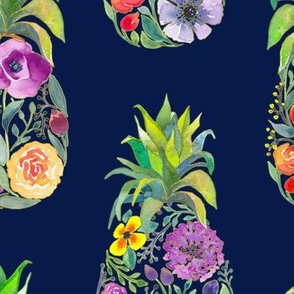 Pretty Pineapples on Navy