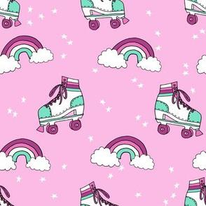 rollerskates fabric // cute nostalgic rollerskate retro rainbow girls design - violet