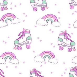 rollerskates fabric // cute nostalgic rollerskate retro rainbow girls design - pastel white