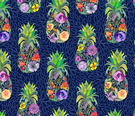 Pretty Pineapples on Floral Navy fabric by gingerlique on Spoonflower - custom fabric