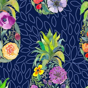 Pretty Pineapples on Floral Navy