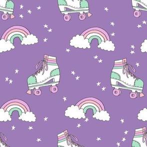 rollerskates fabric // cute nostalgic rollerskate retro rainbow girls design - purple