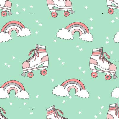 rollerskates fabric // cute nostalgic rollerskate retro rainbow girls design - mint