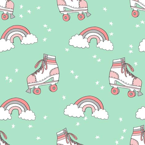 rollerskates fabric // cute nostalgic rollerskate retro rainbow girls design - mint fabric by andrea_lauren on Spoonflower - custom fabric