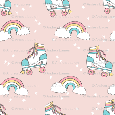 rollerskates fabric // cute nostalgic rollerskate retro rainbow girls design - pale peach