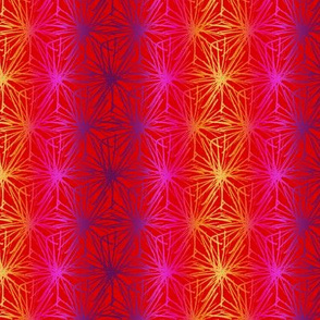 Doodle Milkweed - Sunset on Red