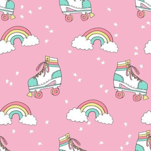 rollerskates fabric // cute nostalgic rollerskate retro rainbow girls design - pink and yellow