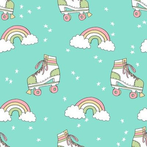 rollerskates fabric // cute nostalgic rollerskate retro rainbow girls design - mint and green